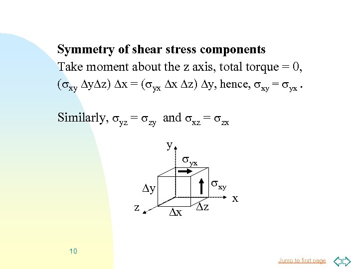 Symmetry of shear stress components Take moment about the z axis, total torque =
