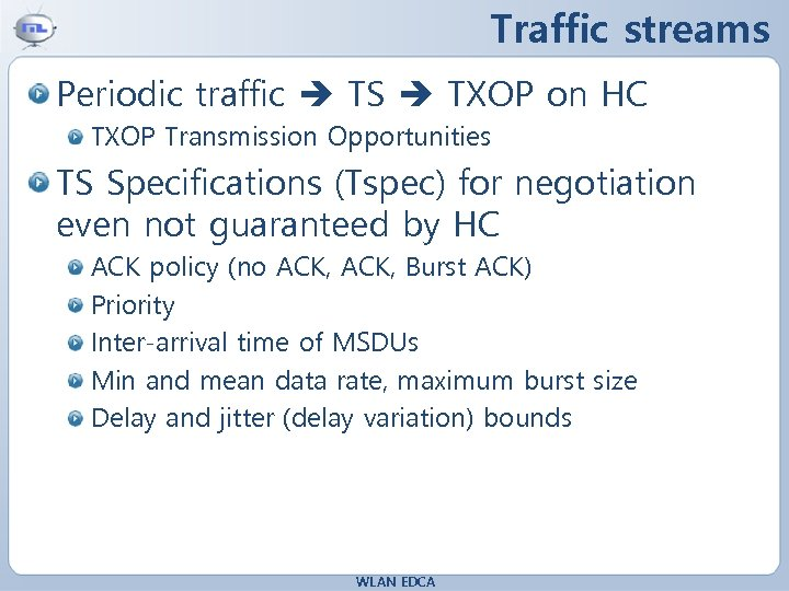 Traffic streams Periodic traffic TS TXOP on HC TXOP Transmission Opportunities TS Specifications (Tspec)