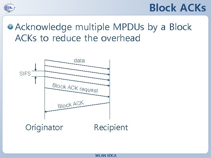 Block ACKs Acknowledge multiple MPDUs by a Block ACKs to reduce the overhead data