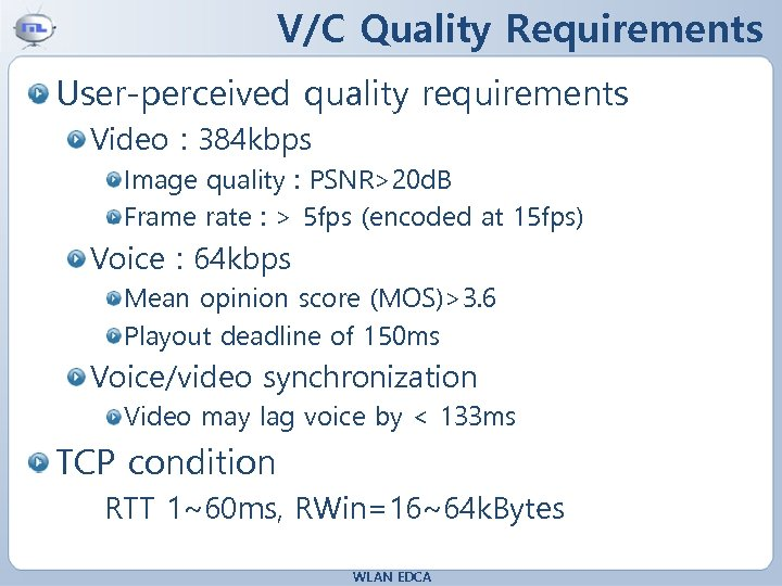 V/C Quality Requirements User-perceived quality requirements Video : 384 kbps Image quality : PSNR>20