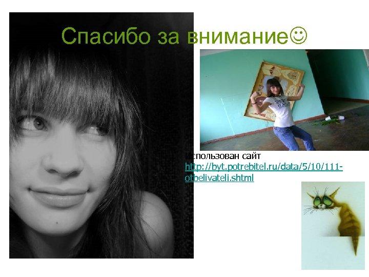 Спасибо за внимание Использован сайт http: //byt. potrebitel. ru/data/5/10/111 otbelivateli. shtml