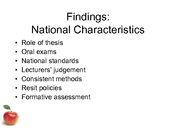 thesis findings The construction of a thesis including the order and presentation of materials and the formatting thesis formatting guidelines author: school of education.