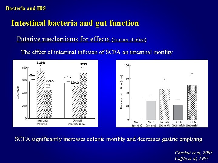 Bacteria and IBS Intestinal bacteria and gut function Putative mechanisms for effects (human studies)