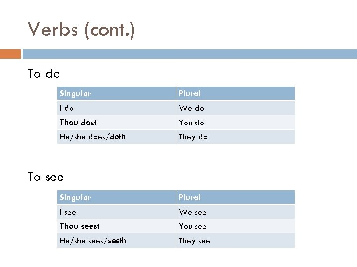 Verbs (cont. ) To do Singular Plural I do We do Thou dost You