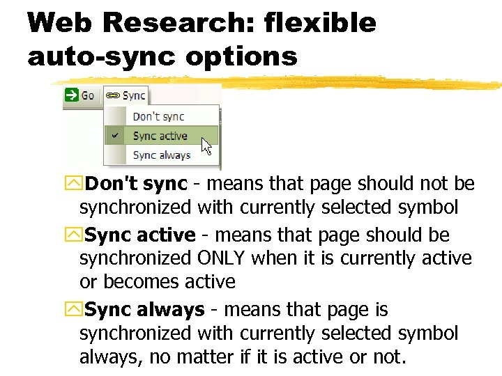 Web Research: flexible auto-sync options y. Don't sync - means that page should not