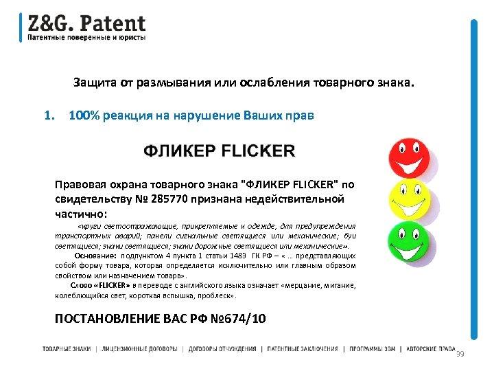 Защита от размывания или ослабления товарного знака. 1. 100% реакция на нарушение Ваших прав