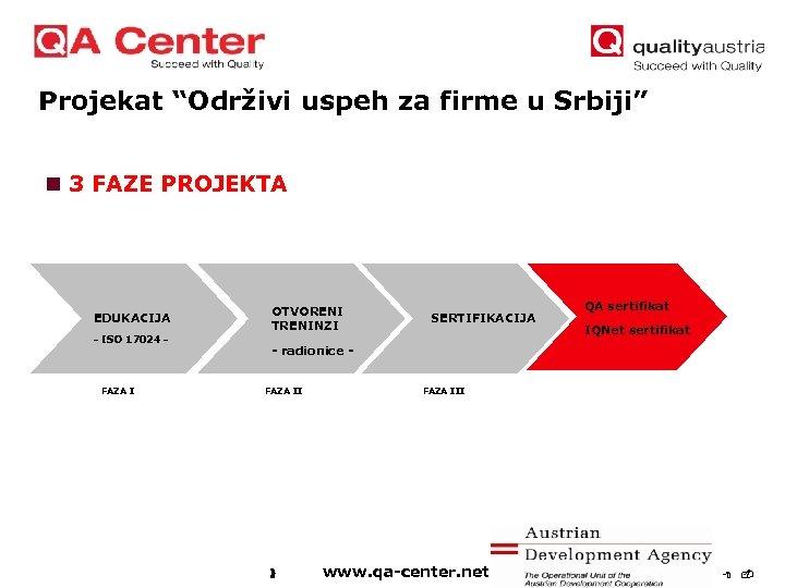 "Projekat ""Održivi uspeh za firme u Srbiji"" n 3 FAZE PROJEKTA EDUKACIJA - ISO"