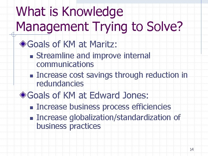 What is Knowledge Management Trying to Solve? Goals of KM at Maritz: n n