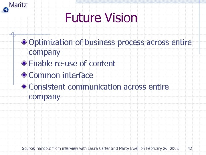Future Vision Optimization of business process across entire company Enable re-use of content Common