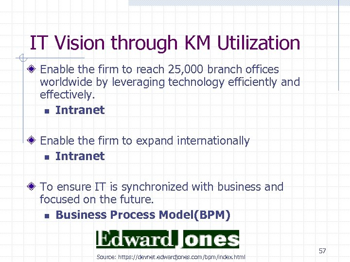 IT Vision through KM Utilization Enable the firm to reach 25, 000 branch offices