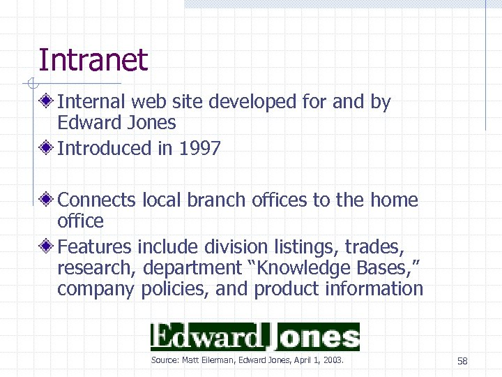Intranet Internal web site developed for and by Edward Jones Introduced in 1997 Connects
