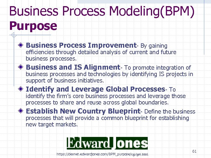 Business Process Modeling(BPM) Purpose Business Process Improvement- By gaining efficiencies through detailed analysis of