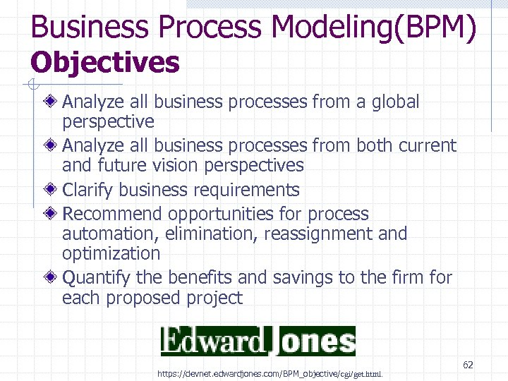 Business Process Modeling(BPM) Objectives Analyze all business processes from a global perspective Analyze all