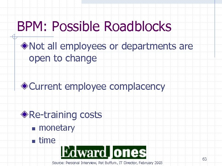 BPM: Possible Roadblocks Not all employees or departments are open to change Current employee