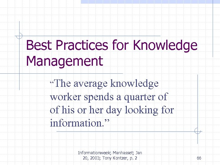 "Best Practices for Knowledge Management ""The average knowledge worker spends a quarter of of"