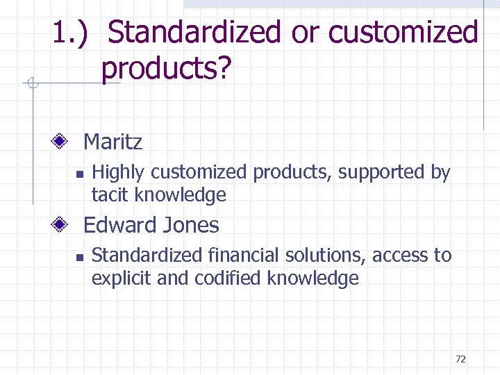 1. ) Standardized or customized products? Maritz n Highly customized products, supported by tacit