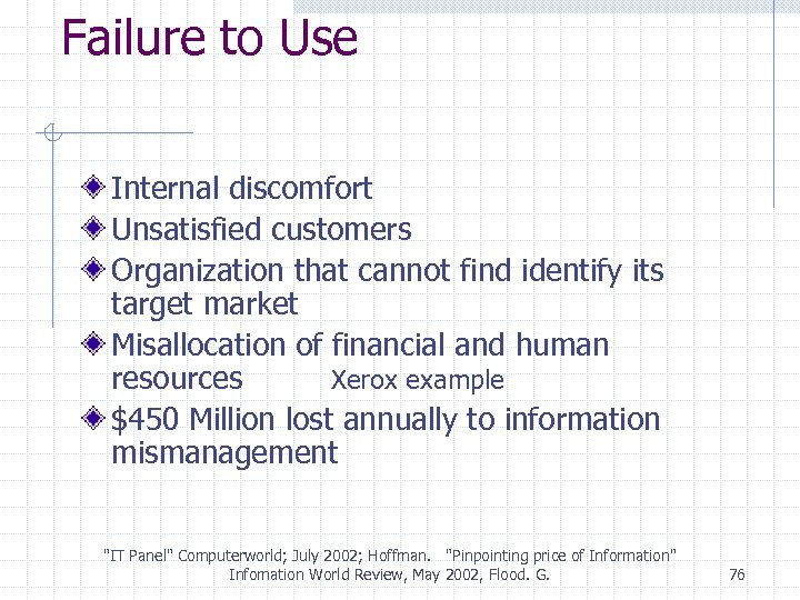 Failure to Use Internal discomfort Unsatisfied customers Organization that cannot find identify its target