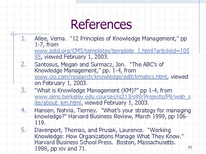"References 1. 2. 3. 4. 5. Allee, Verna. "" 12 Principles of Knowledge Management,"