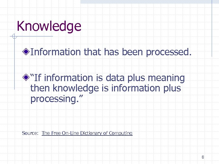 "Knowledge Information that has been processed. ""If information is data plus meaning then knowledge"