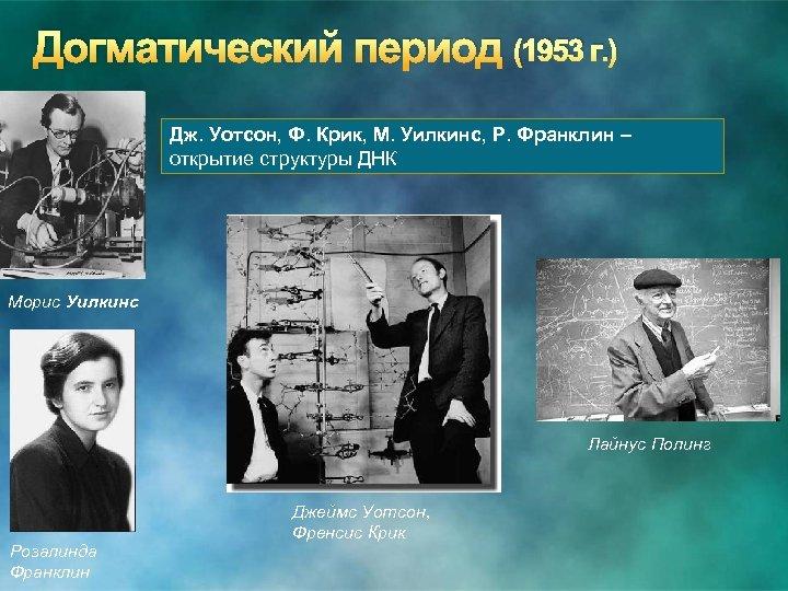 Догматический период (1953 г. ) Дж. Уотсон, Ф. Крик, М. Уилкинс, Р. Франклин –