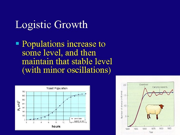 Logistic Growth § Populations increase to some level, and then maintain that stable level