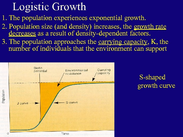 Logistic Growth 1. The population experiences exponential growth. 2. Population size (and density) increases,