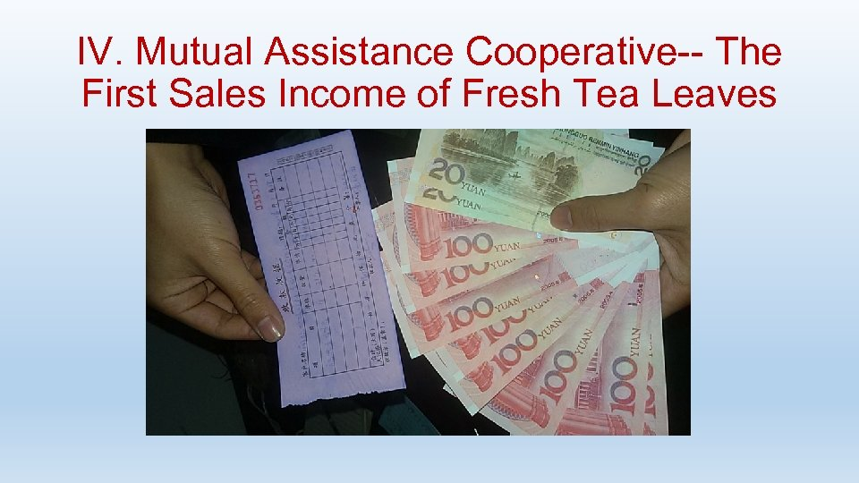IV. Mutual Assistance Cooperative-- The First Sales Income of Fresh Tea Leaves