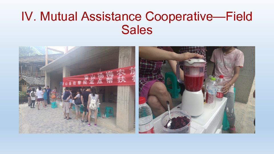 IV. Mutual Assistance Cooperative—Field Sales
