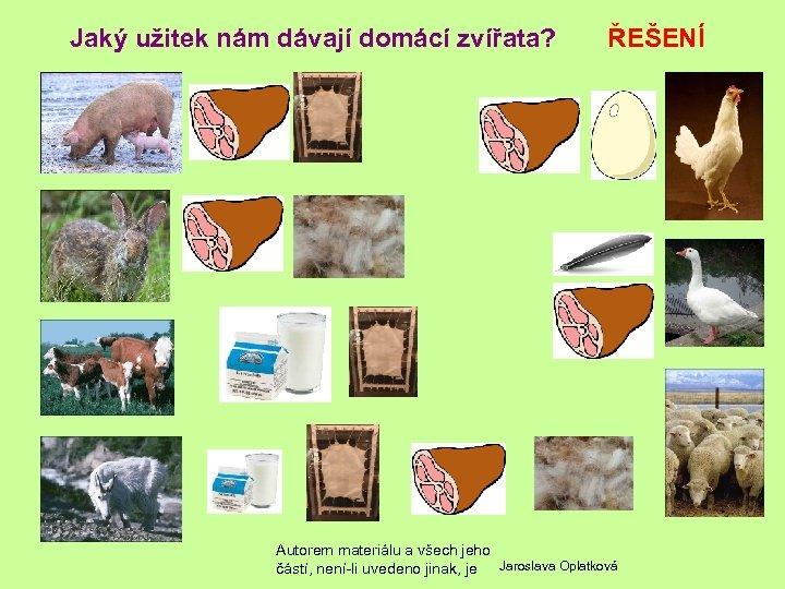 Jaký užitek nám dávají domácí zvířata? ŘEŠENÍ Autorem materiálu a všech jeho částí, není-li