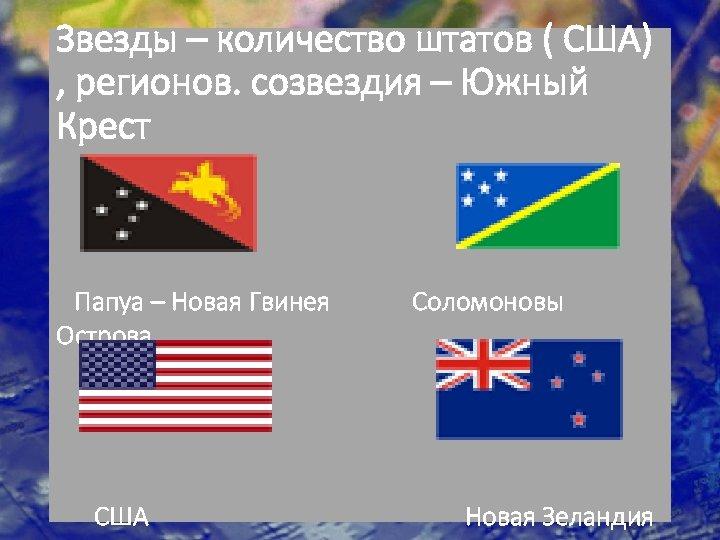 Звезды – количество штатов ( США) , регионов. созвездия – Южный Крест Папуа –