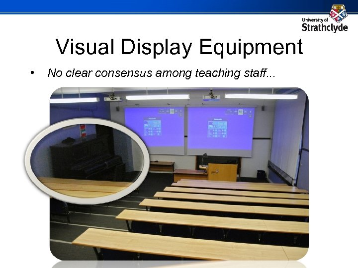 Visual Display Equipment • No clear consensus among teaching staff. . .