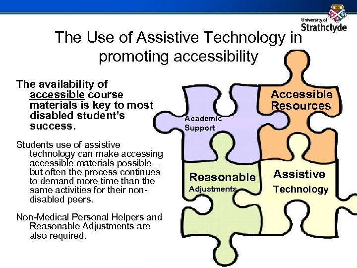 The Use of Assistive Technology in promoting accessibility The availability of accessible course materials