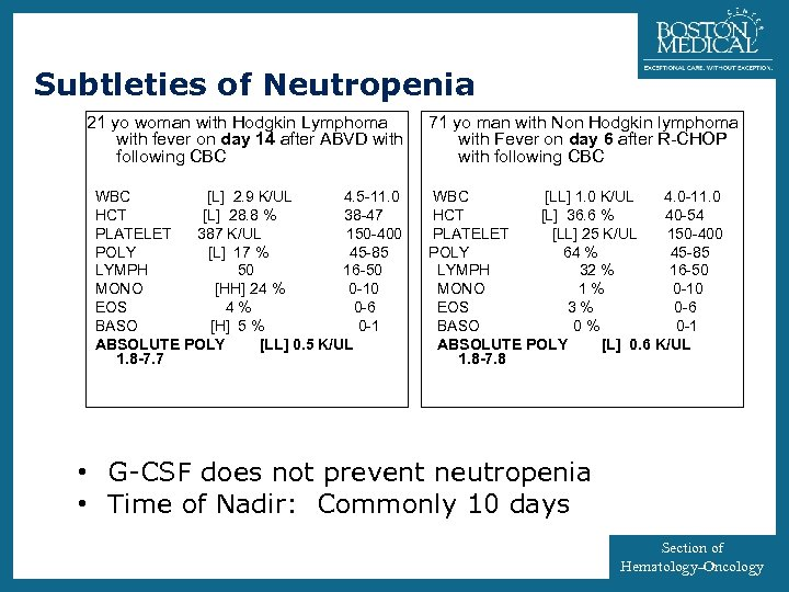 4 Subtleties of Neutropenia 21 yo woman with Hodgkin Lymphoma with fever on day