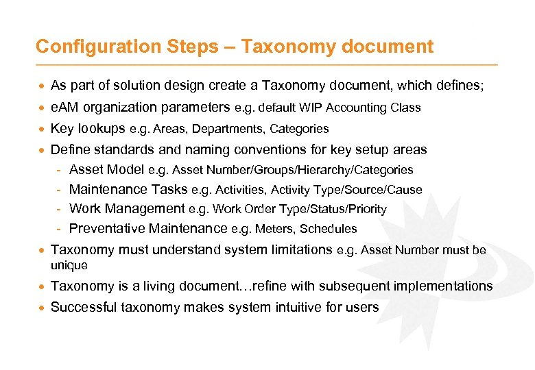 Configuration Steps – Taxonomy document · As part of solution design create a Taxonomy