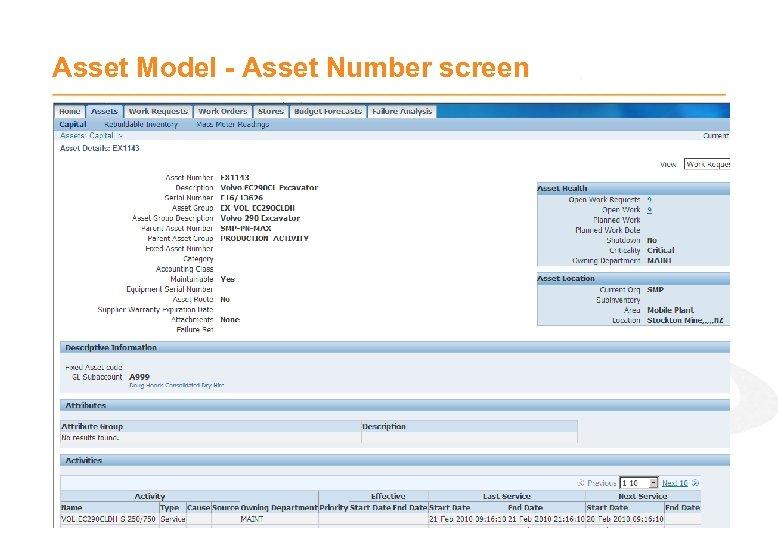 Asset Model - Asset Number screen
