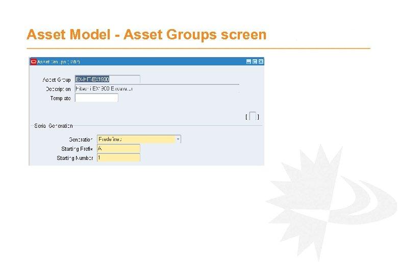 Asset Model - Asset Groups screen