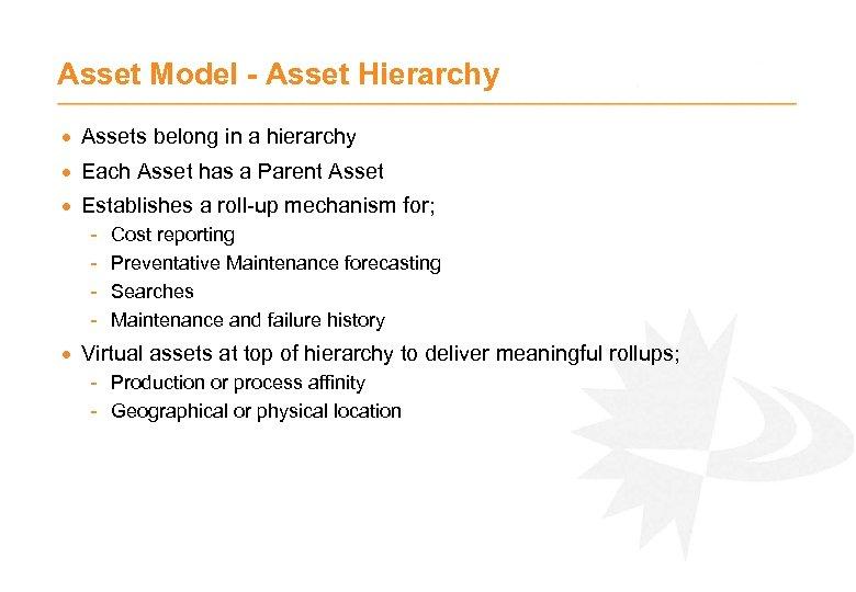 Asset Model - Asset Hierarchy · Assets belong in a hierarchy · Each Asset