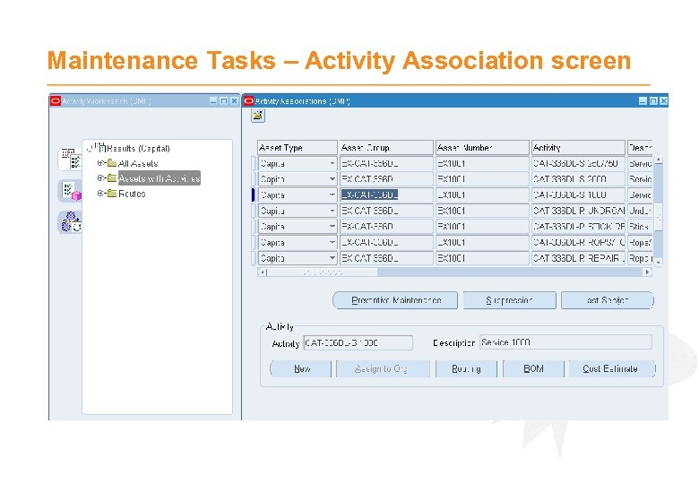 Maintenance Tasks – Activity Association screen