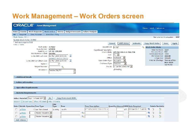 Work Management – Work Orders screen