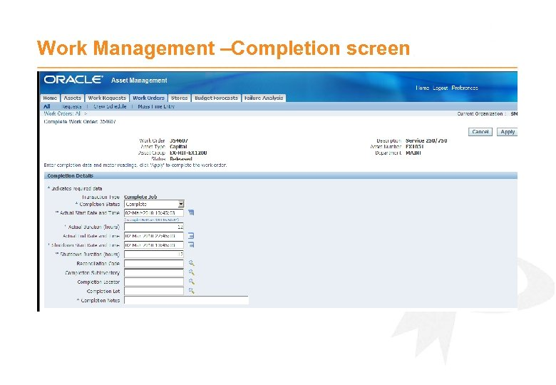 Work Management –Completion screen