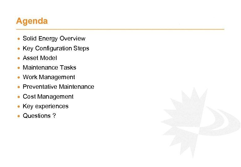 Agenda · Solid Energy Overview · Key Configuration Steps · Asset Model · Maintenance