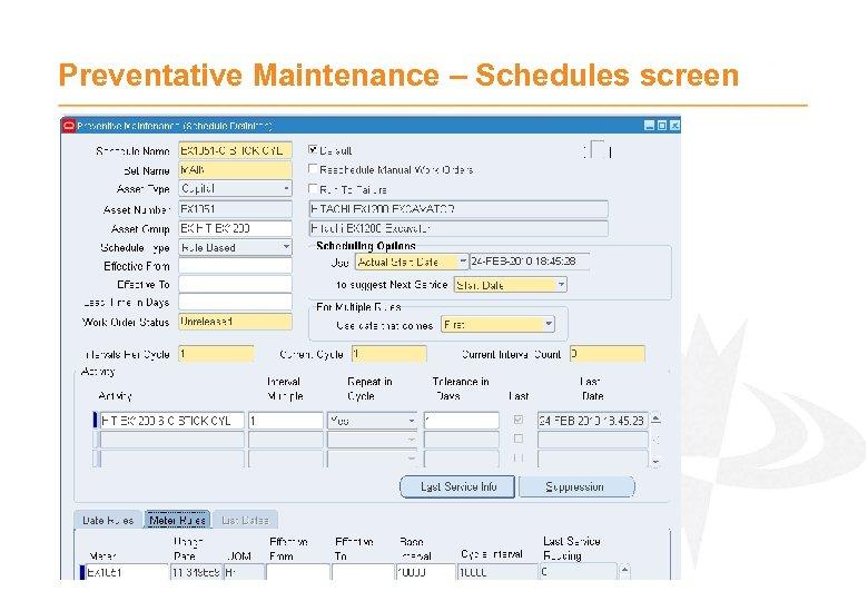 Preventative Maintenance – Schedules screen