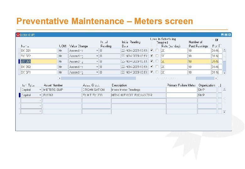 Preventative Maintenance – Meters screen