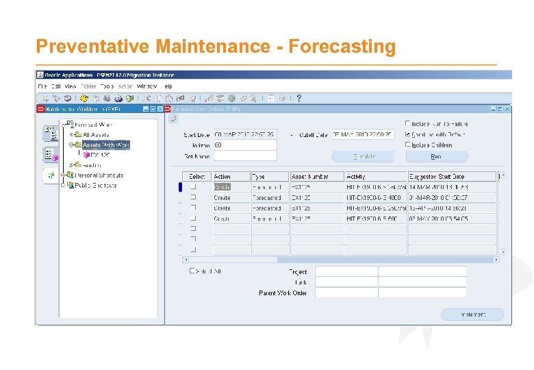 Preventative Maintenance - Forecasting