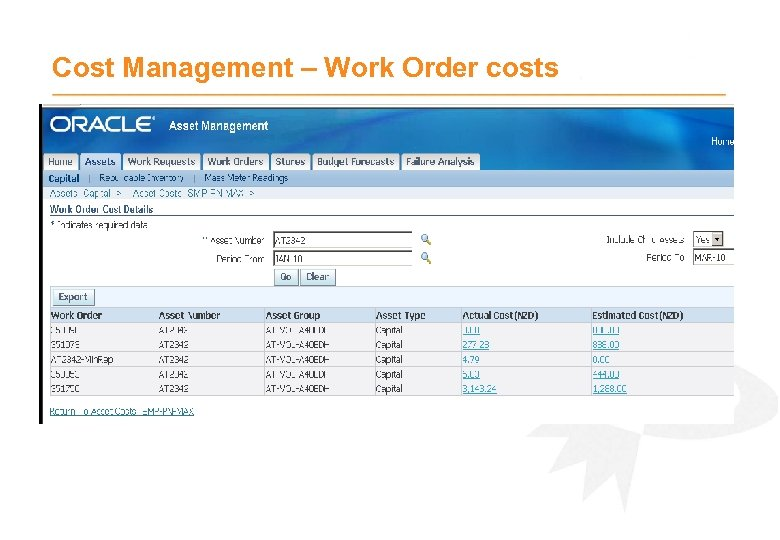 Cost Management – Work Order costs