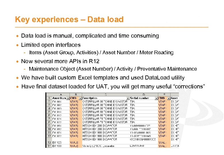 Key experiences – Data load · Data load is manual, complicated and time consuming