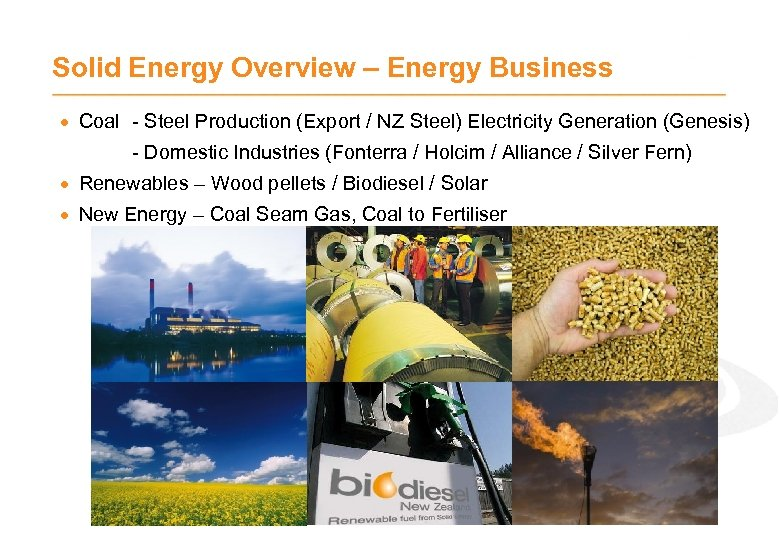 Solid Energy Overview – Energy Business · Coal - Steel Production (Export / NZ