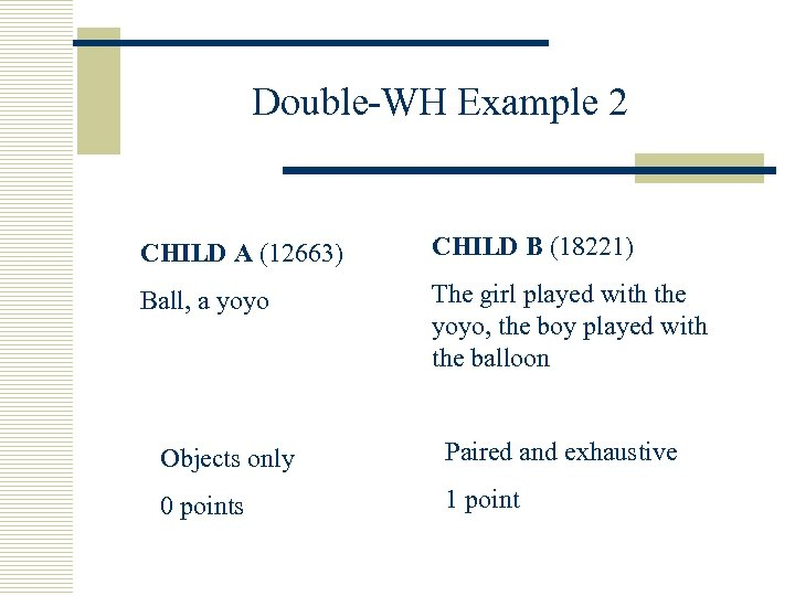 Double-WH Example 2 CHILD A (12663) CHILD B (18221) Ball, a yoyo The girl