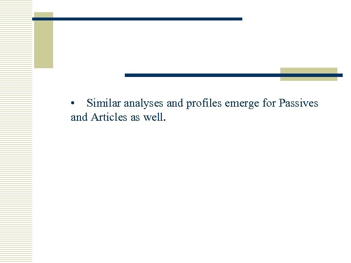 • Similar analyses and profiles emerge for Passives and Articles as well.
