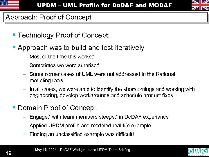 UPDM – UML Profile for Do. DAF and MODAF Approach: Proof of Concept §